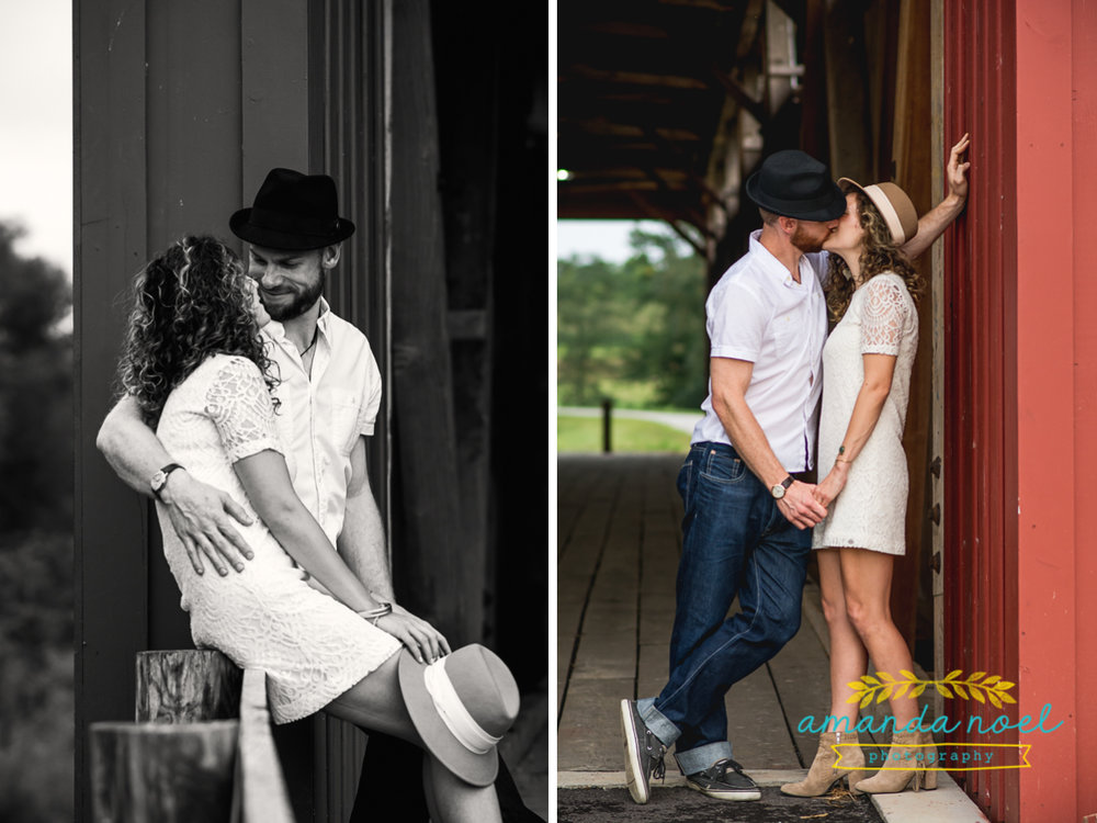 Springfield OH Engagement Photographer | Amanda Noel Photography | stylish lifestyle engagement session covered bridge and field at sunset