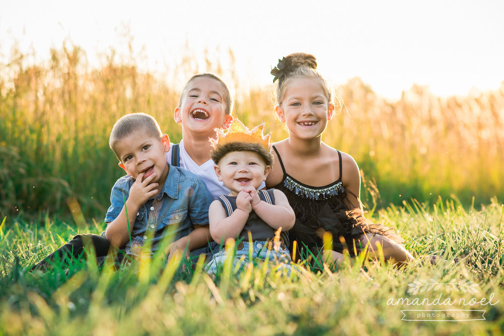 Springfield Lifestyle Family Photographer | Amanda Noel Photography | sunset golden field wild and free sibling child session