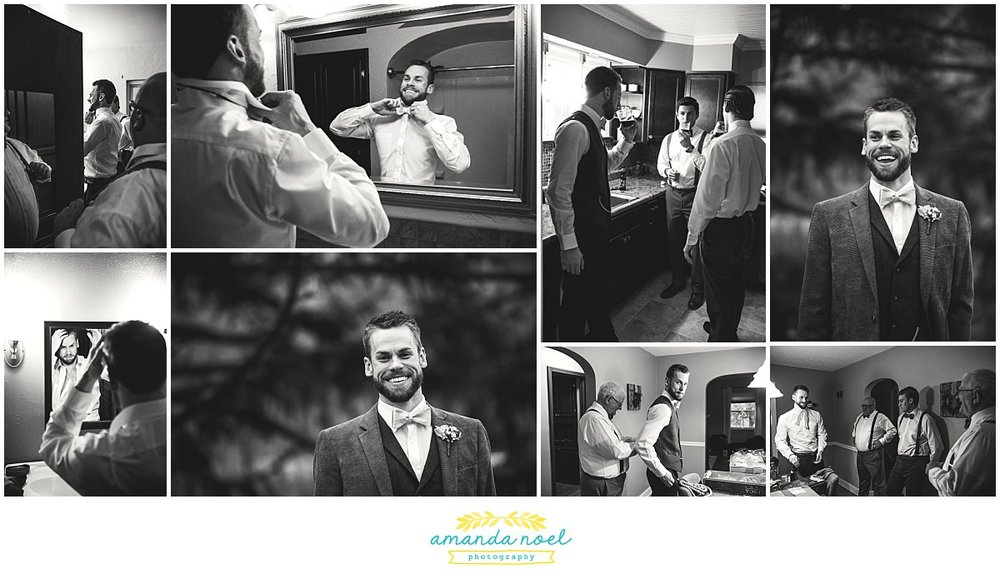Springfield Ohio winter wedding groom black and white | Amanda Noel Photography