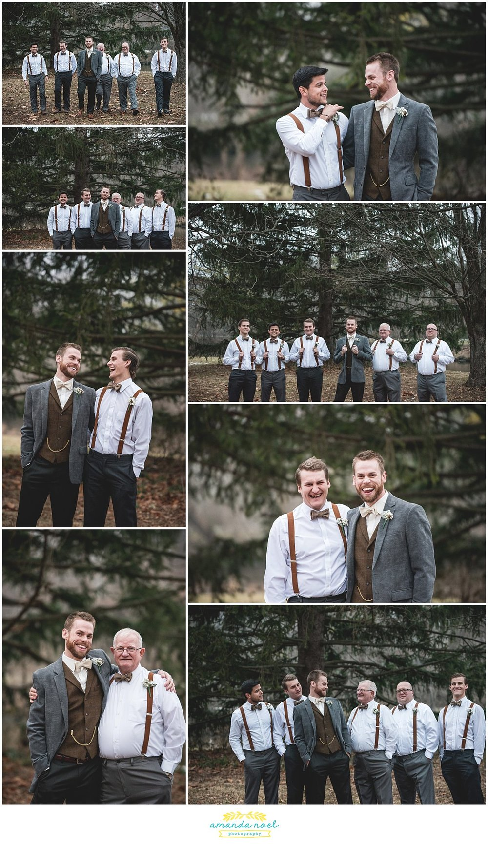 Springfield Ohio rustic winter wedding outdoor portraits groom + groomsmen | Amanda Noel Photography
