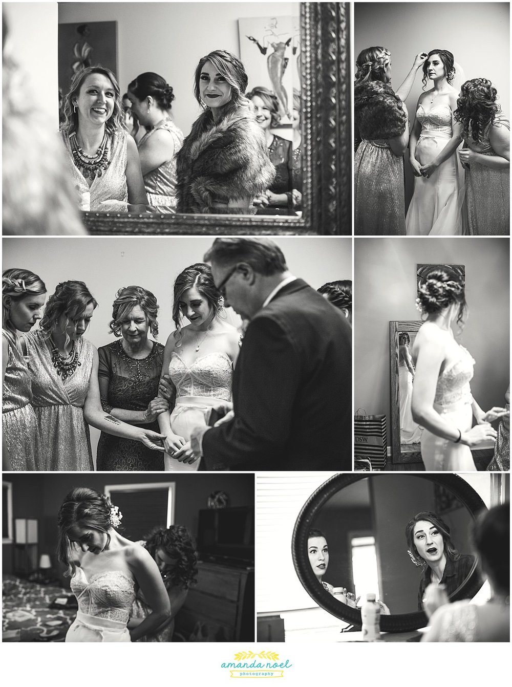 Springfield Ohio winter wedding bride getting ready black and white | Amanda Noel Photography