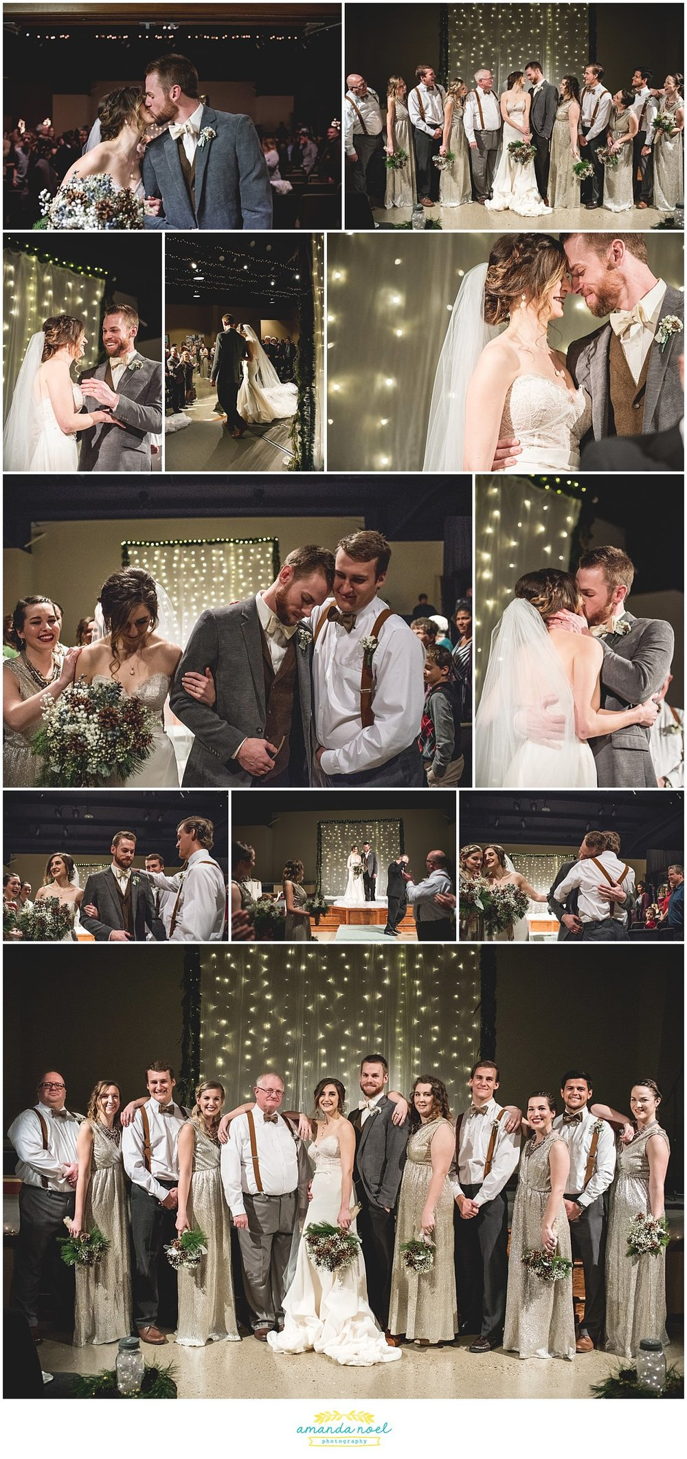 Springfield Ohio winter wedding candlight church ceremony | Amanda Noel Photography