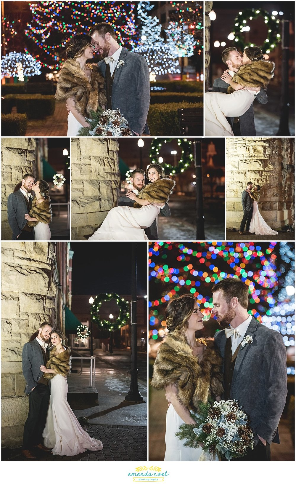 Springfield Ohio winter wedding couple portraits downtown Christmas lights | Amanda Noel Photography