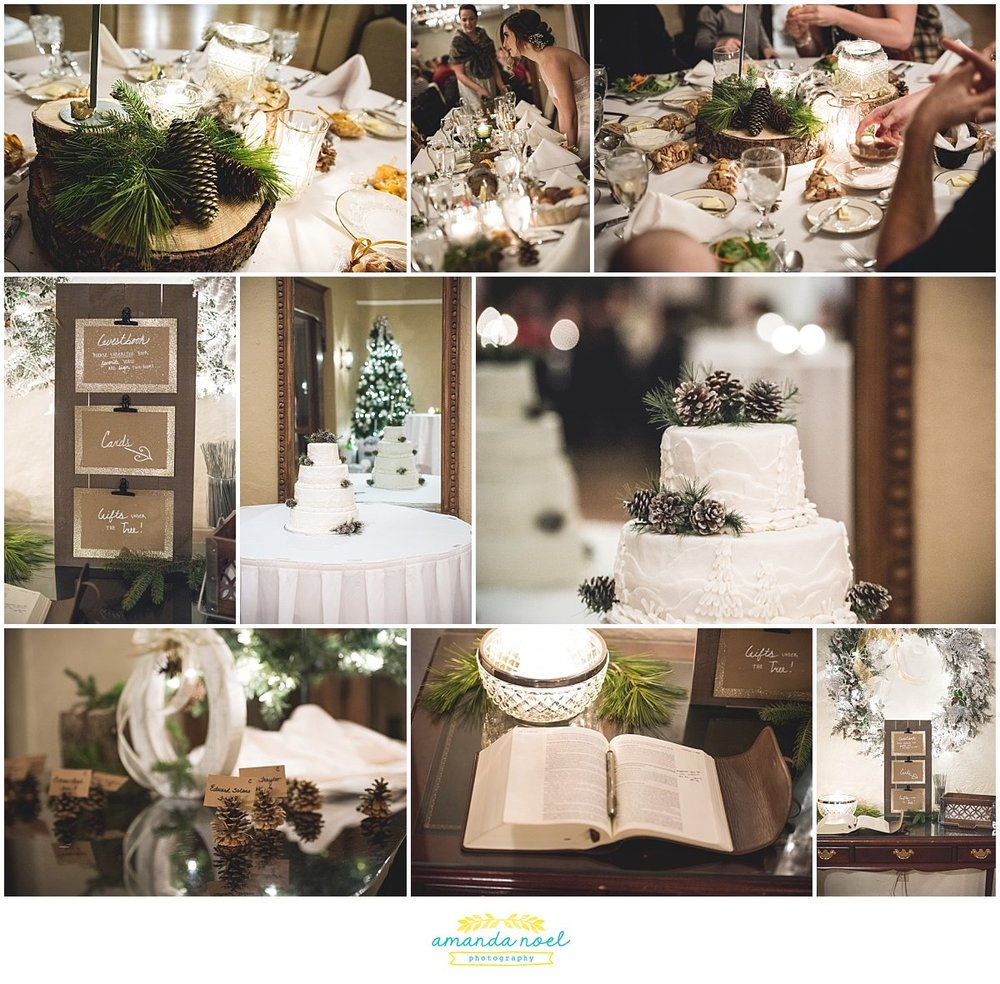 Springfield Ohio rustic winter wedding reception details | Amanda Noel Photography