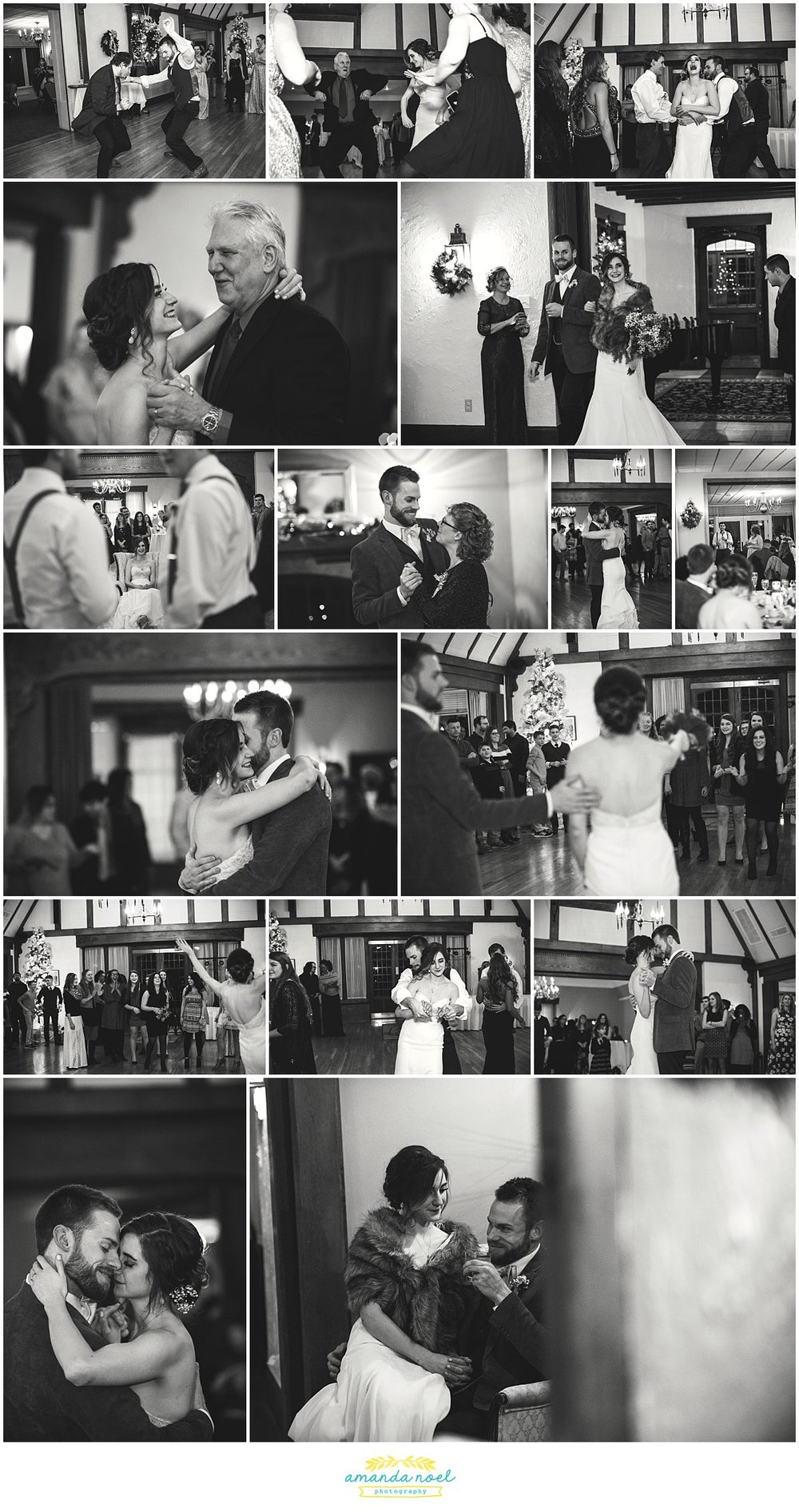 Springfield Ohio winter wedding reception black and white | Amanda Noel Photography
