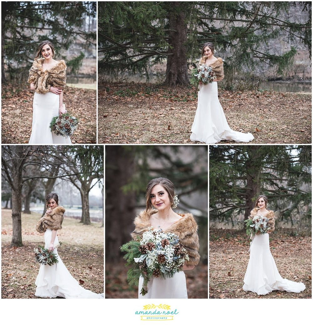 Springfield Ohio rustic winter wedding outdoor bridal portraits bride in pine forest | Amanda Noel Photography