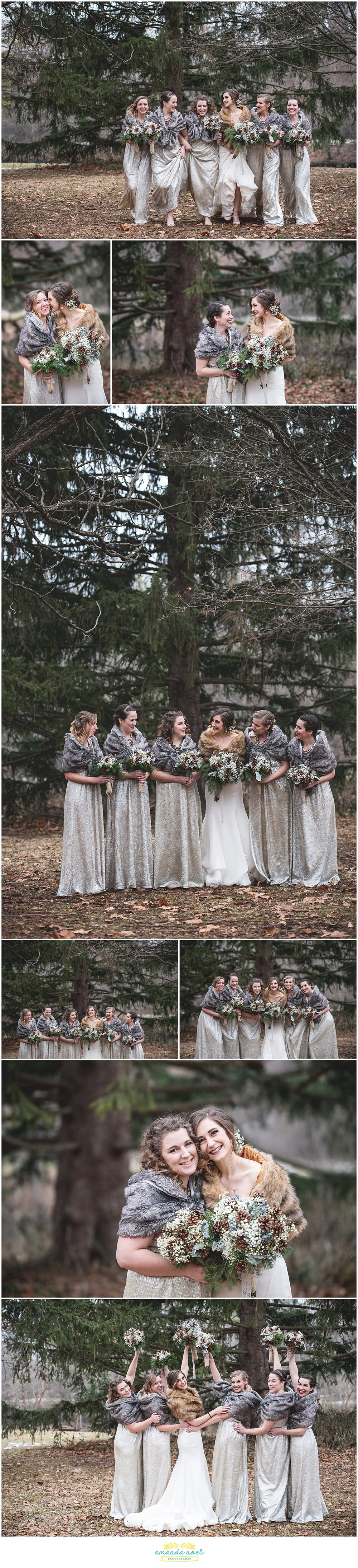 Springfield Ohio rustic winter wedding bridal party portraits bridesmaids pine forest woods | Amanda Noel Photography