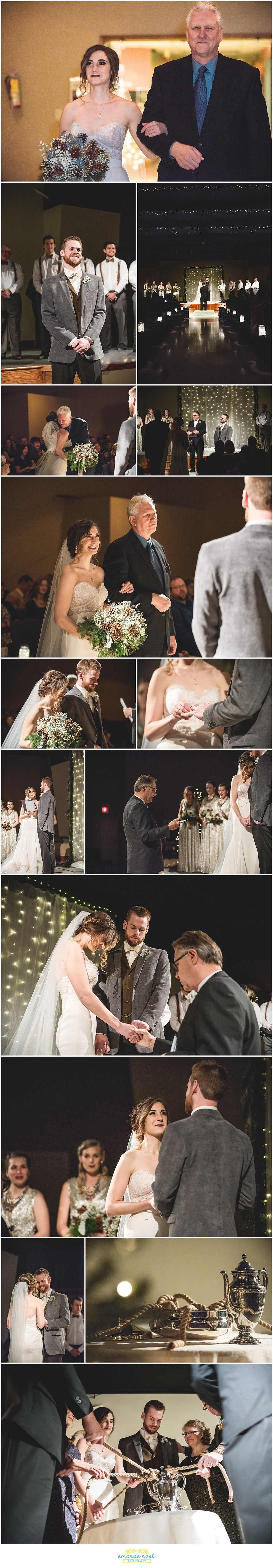 Springfield Ohio winter wedding Christmas lights church ceremony | Amanda Noel Photography