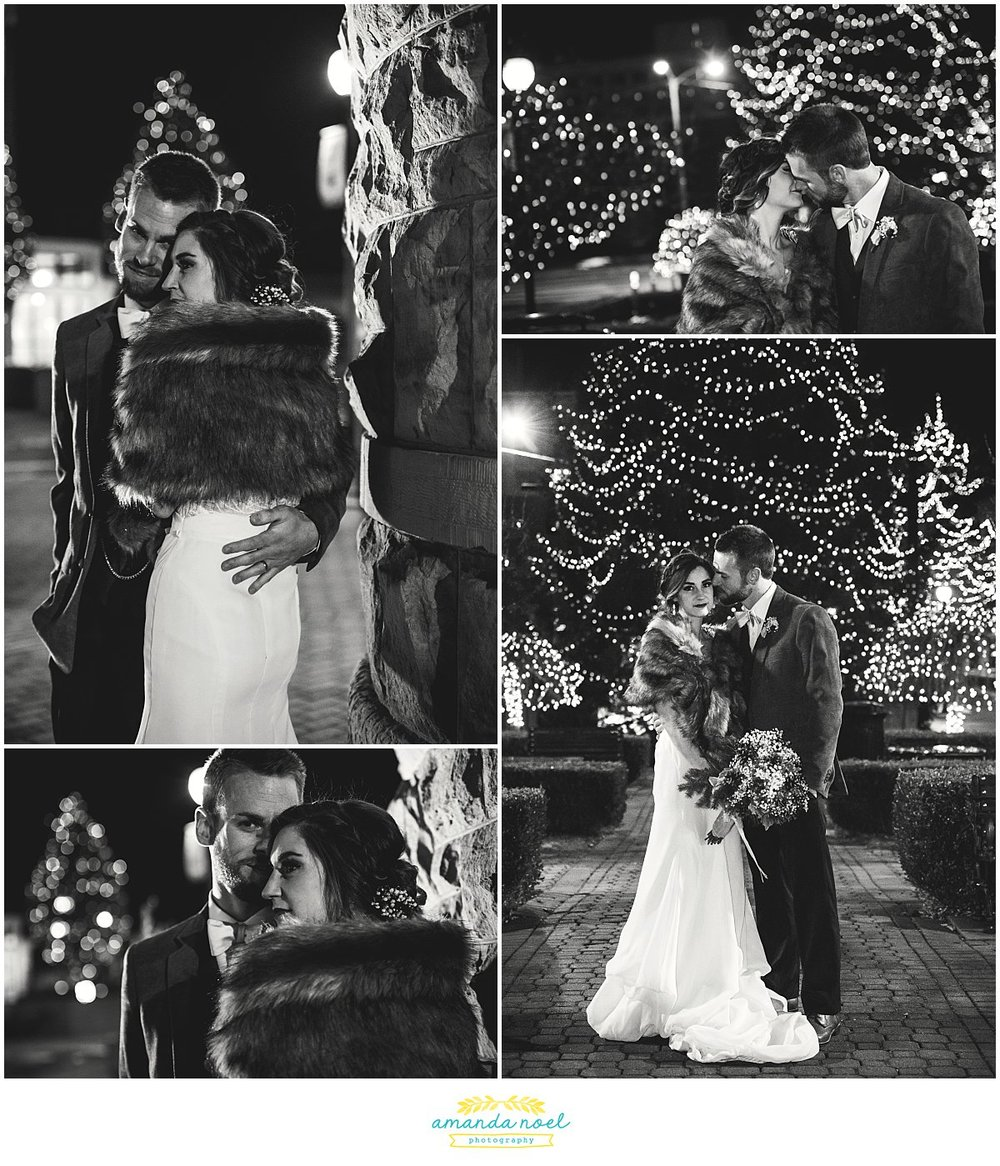 Springfield Ohio winter wedding couple portraits downtown city Christmas lights | Amanda Noel Photography