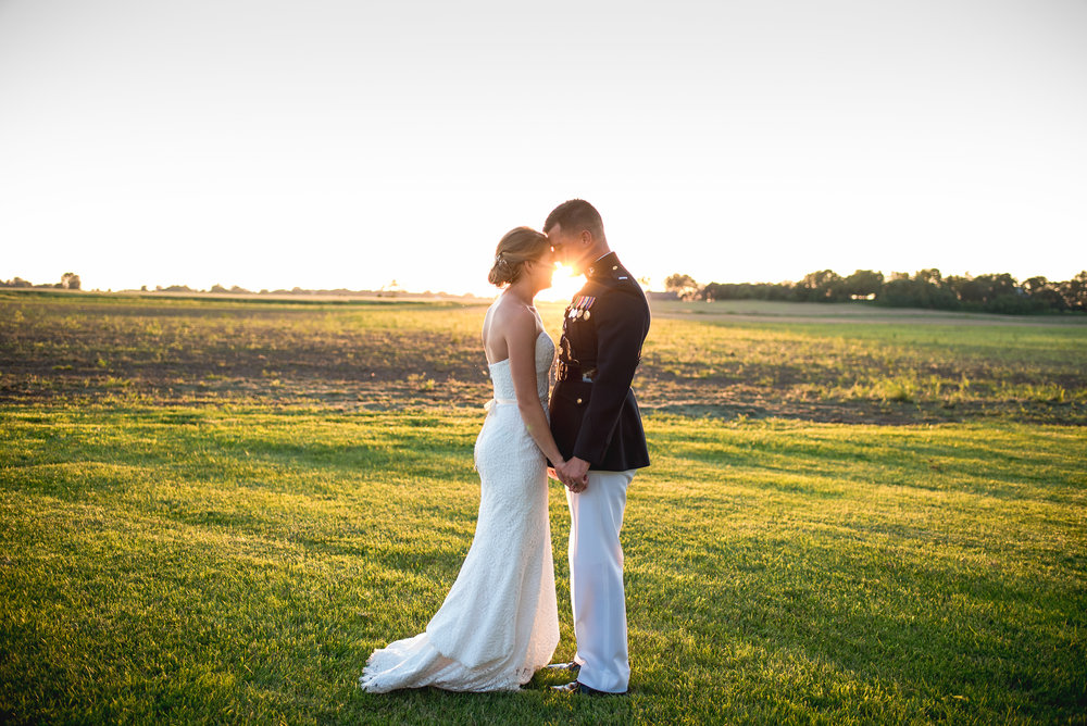 outdoor-miltary-wedding-ohio-sunset-couple-portrait-bride-groom