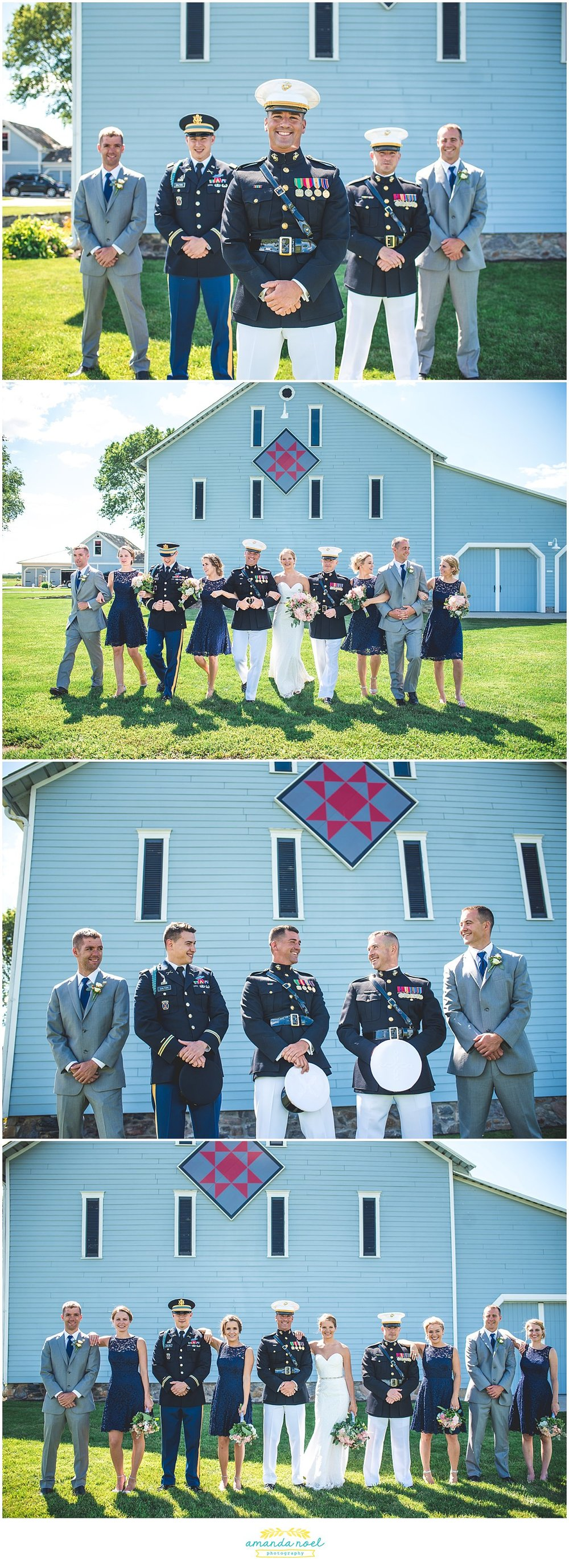 wedding party portraits blue barn