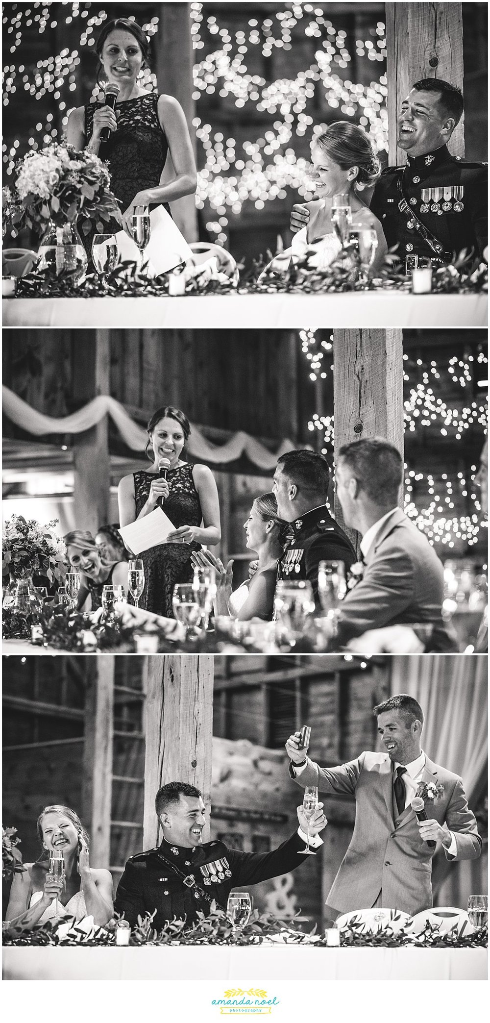 wedding toasts in barn black and white