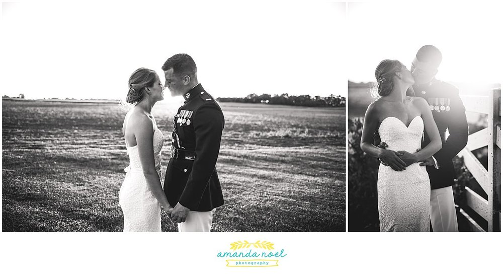sunset portraits bride and groom black and white