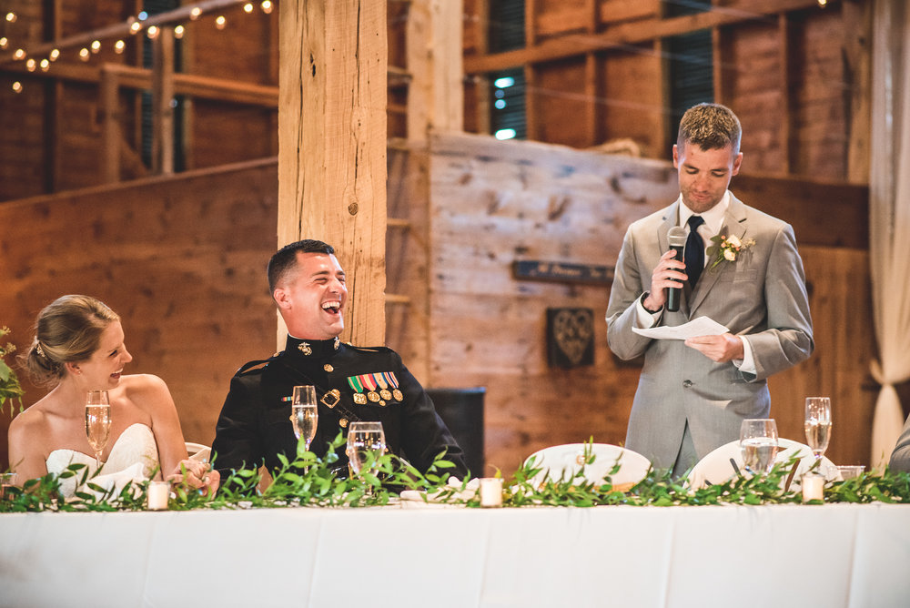 best man toast in barn