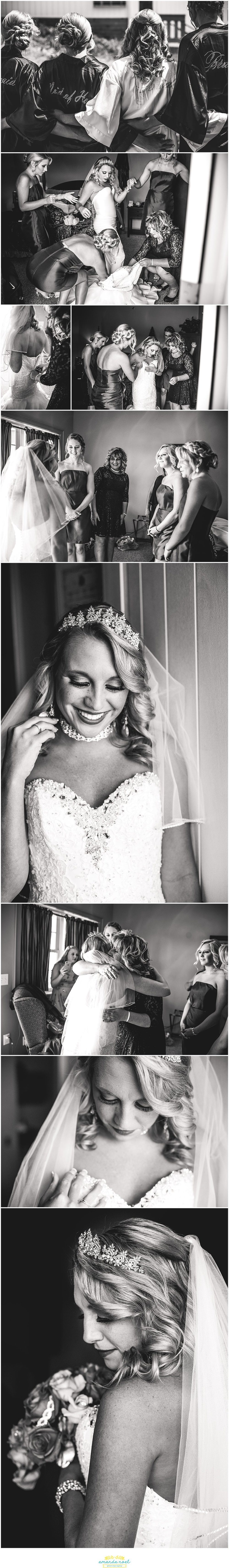 Springfield Ohio wedding bride getting ready black and white