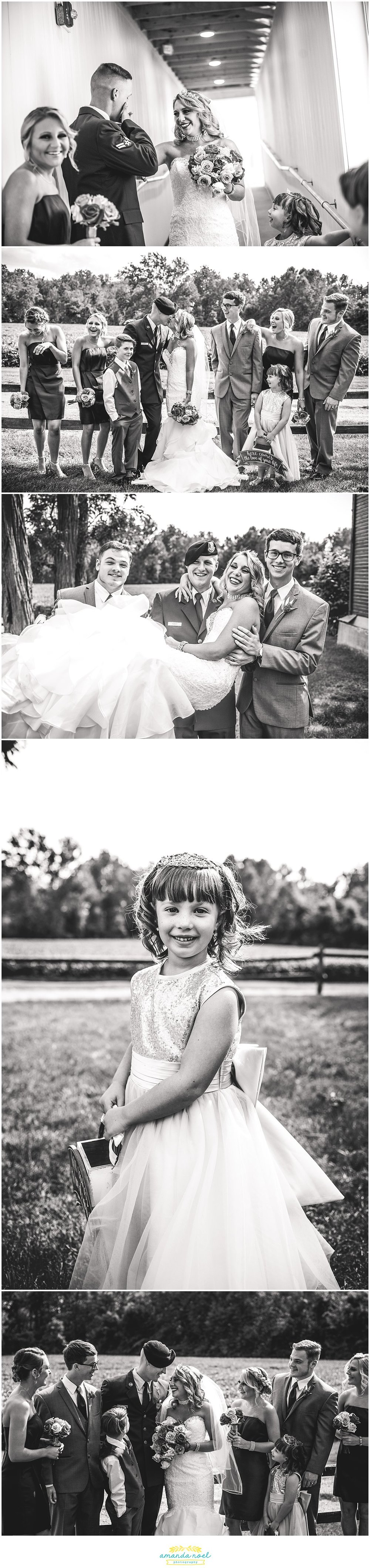Springfield Ohio wedding party portraits black and white