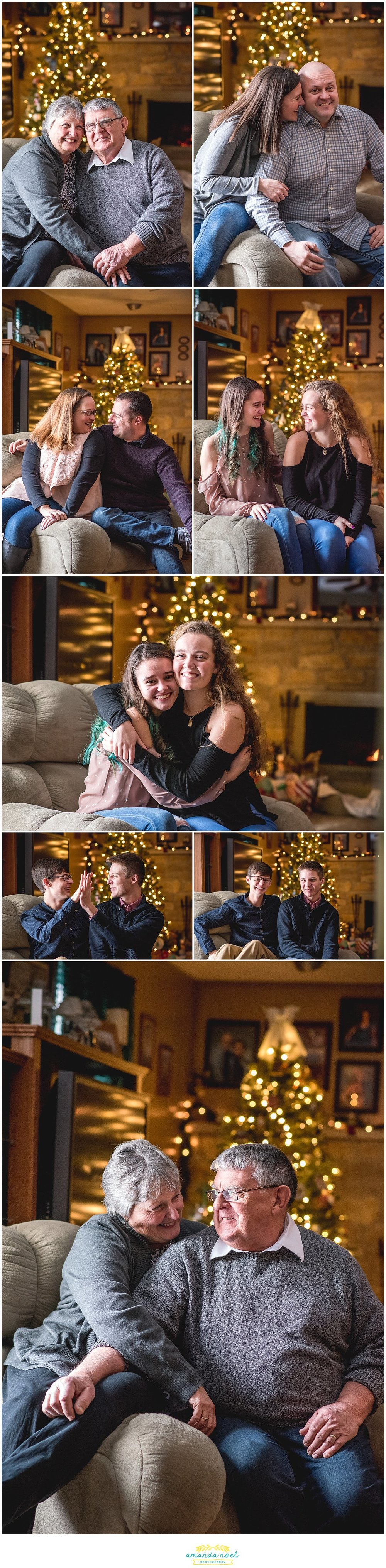 Columbus Ohio family photographer | Amanda Noel Photography | cozy in home extended family session