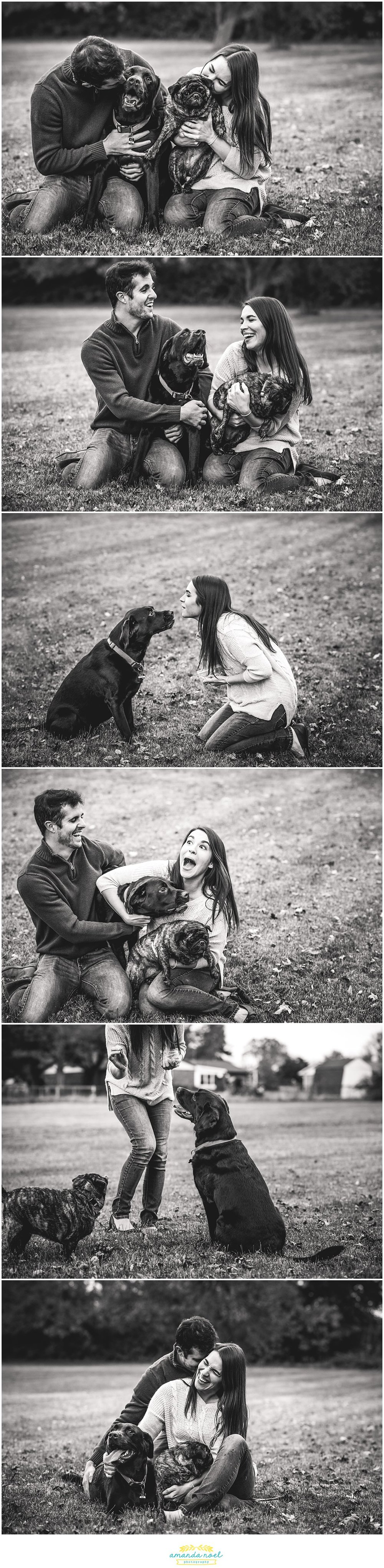 Columbus-Ohio-emotive-couple-portraits-with-dogs-black-and-white