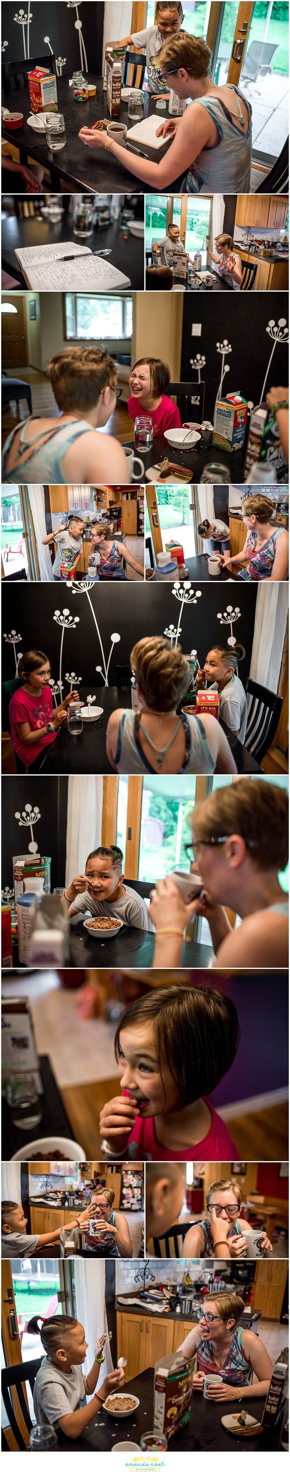 Columbus Ohio candid family photography | breakfast time