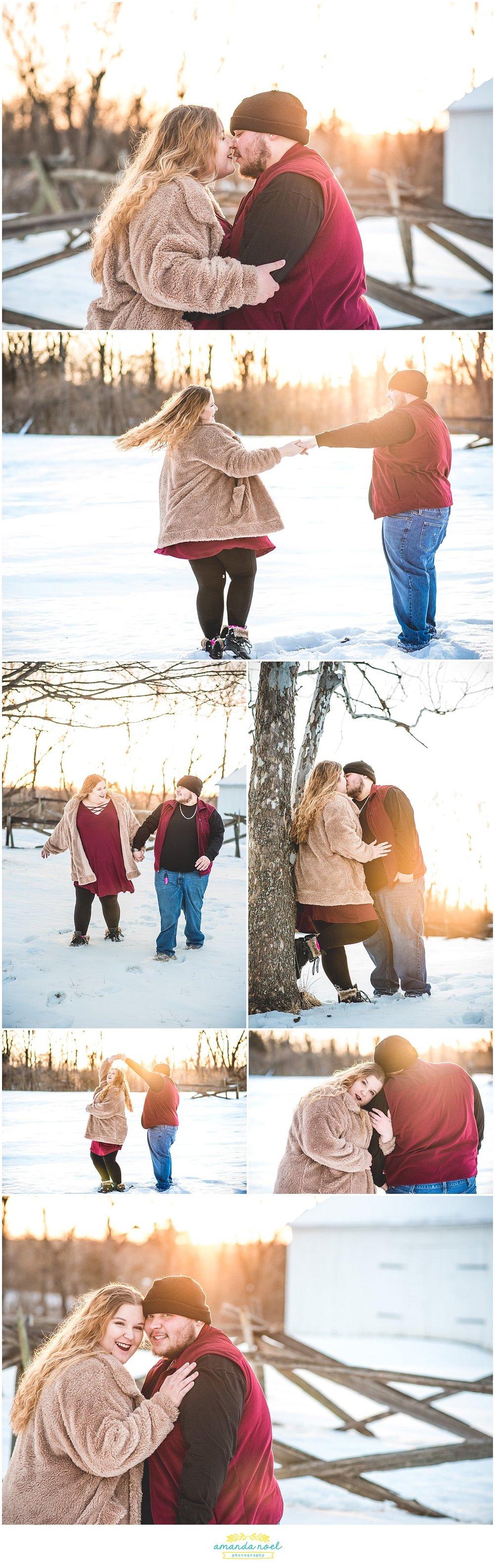 Dayton Ohio Wedding Photographer | sunrise snowy engagement session