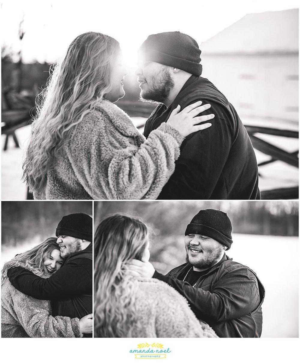 Dayton Ohio Wedding Photographer | sunrise snowy engagement session in black and white