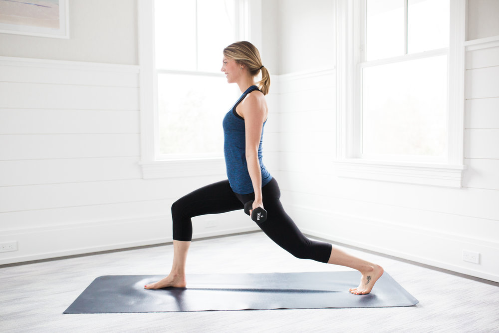 Toning Yoga Moves Lunge With Bicep Curl