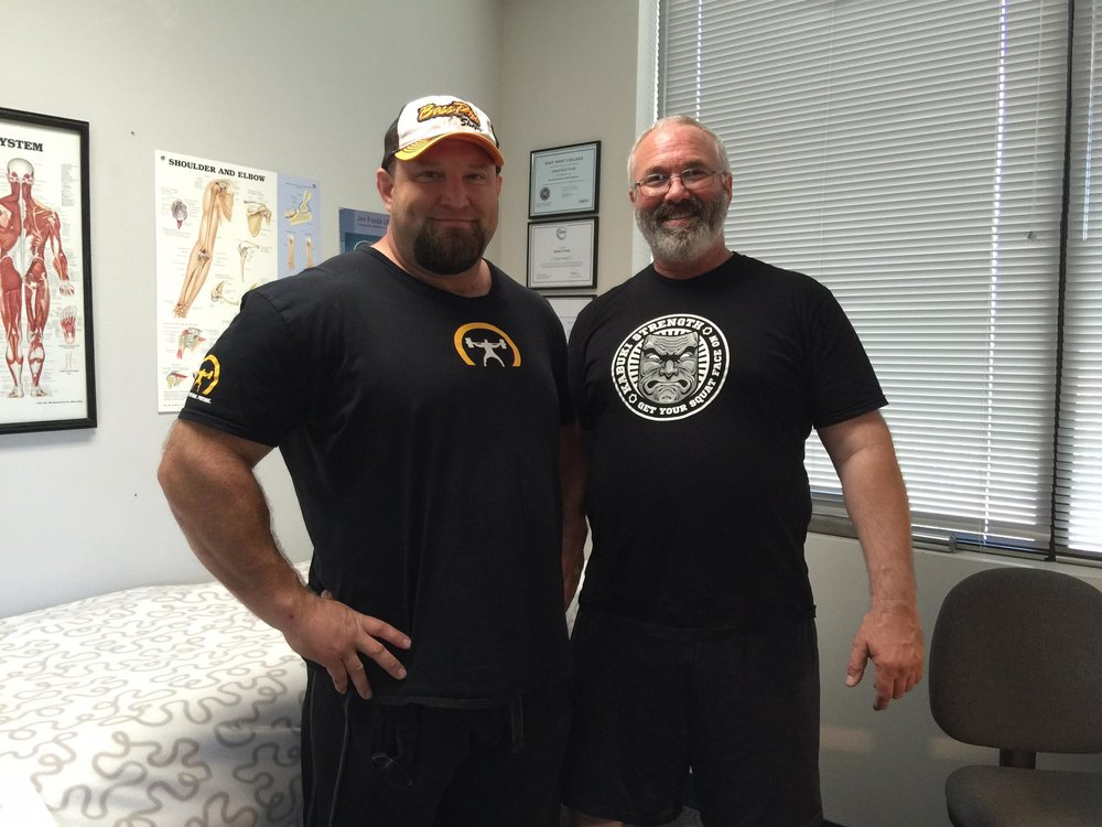 Powerlifter Chad Aichs visits the clinic at Kabuki Strength Lab.