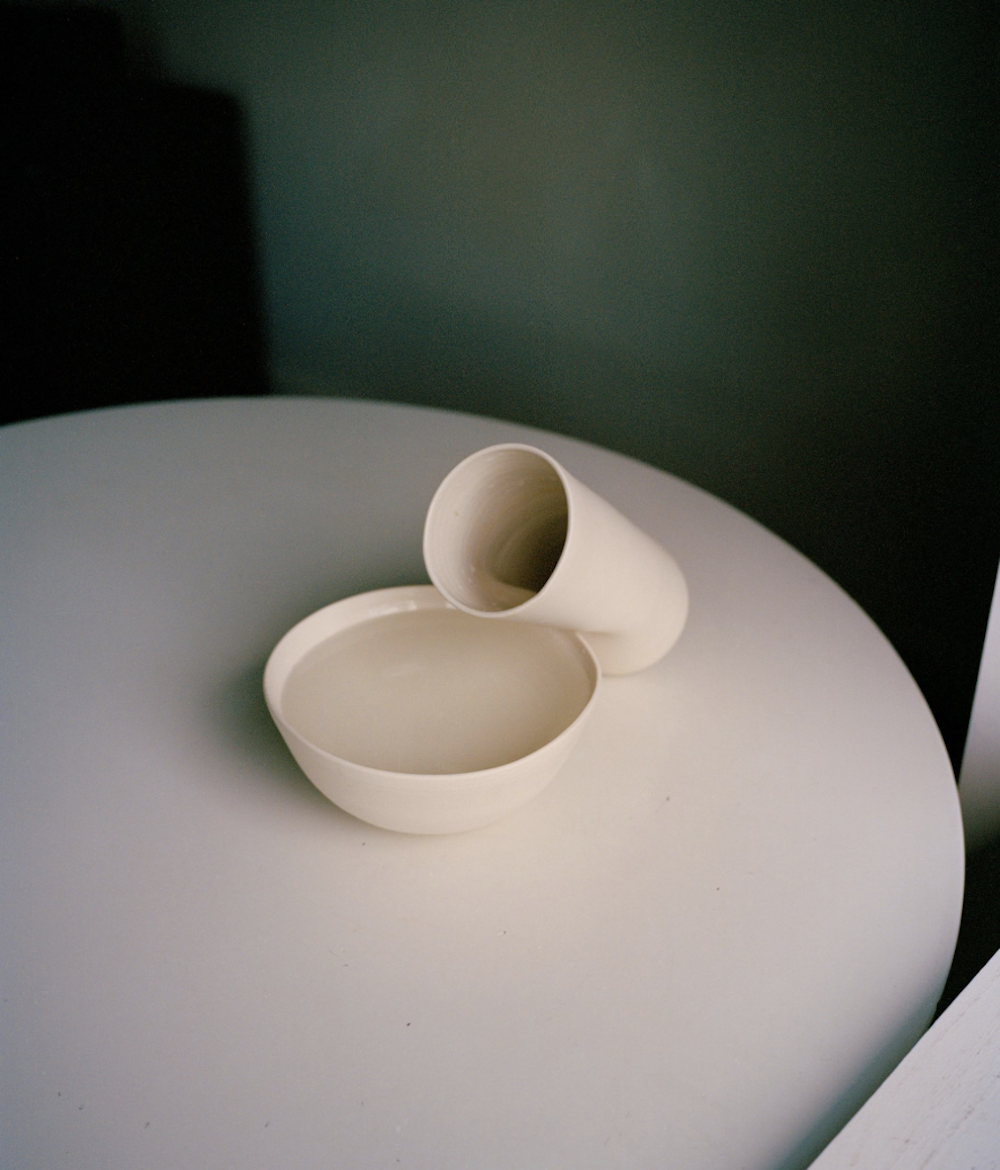 Vessels by PIAULE    Two household essentials well suited to any role. A pair of characters prepared for the limelight. Composed in pure porcelain, which appears delicate but isn't. With dramatic raw exteriors and gently glazed interiors.