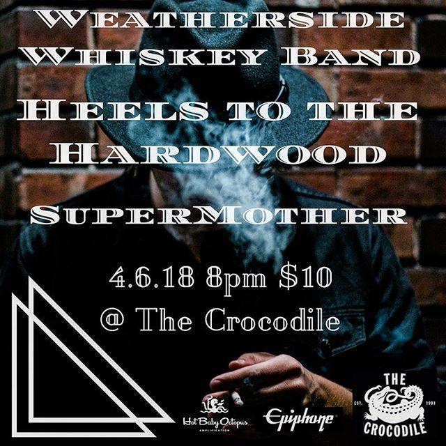 Come see @supermotherband 4.6! @thecrocodileseattle with @heelstothehardwood & @weathersidewhiskeyband • • • #seattle #rock #gibson #epiphone #soundforpower #hotbabyoctopus #doubledecadedeluxe #pnw #supermother