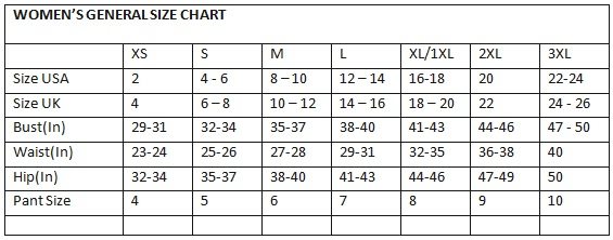 Image result for general women's size chart