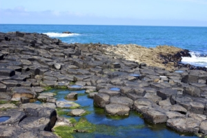 The Giant's Causeway is an area of about 40,000 interlocking basalt columns, the result of an ancient volcanic fissure eruption. It is located in Northern Ireland.