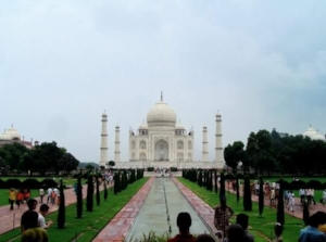 The Taj Mahal was commissioned by Shah Jahan in 1631, to be built in the memory of his 3rd and favorite wife Mumtaz Mahal, a Persian princess who died giving birth to their 14th child. Both he and his wife were laid to rest in the crypt beneath the inner chamber with their faces turned right, towards Mecca.