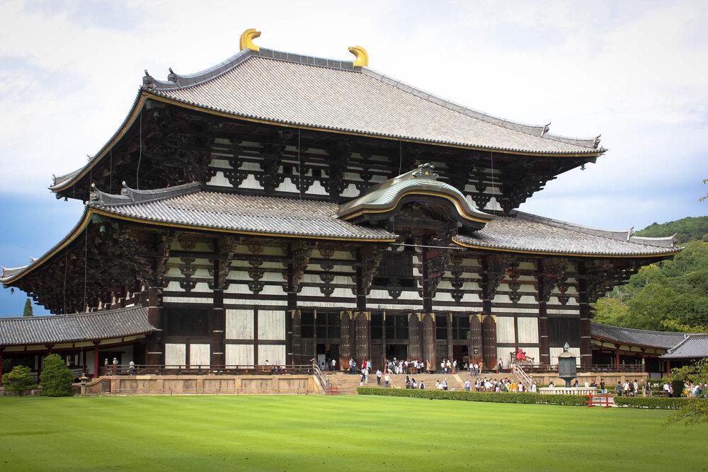 Todai-ji in Nara, housing inside the largest bronze statue of Buddha in the world.