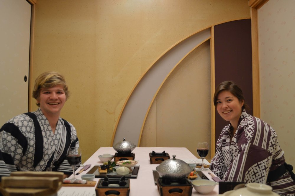 First of many dishes at our ryokan dinner. But look at those robes !!!