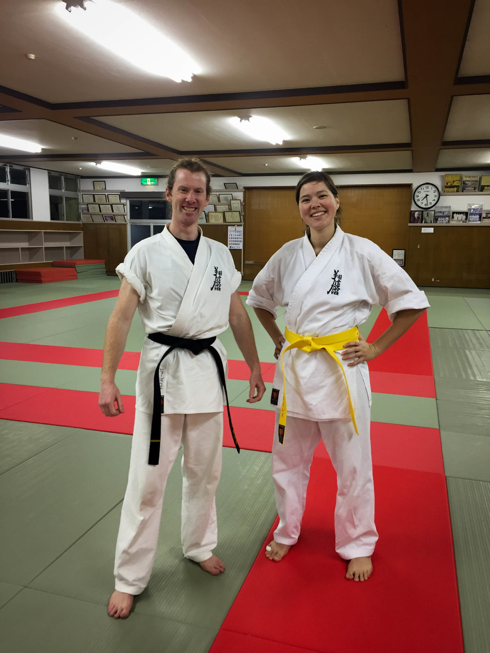 Next belt colour-- yellow! You can see a bit of the dojo where we practice in this photo.