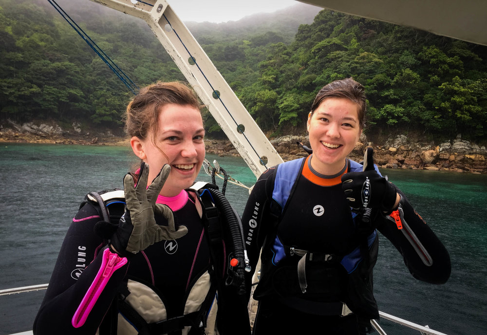 Thumbs up for scuba certification. Hard to tell here but this day was actually torrential downpour and quite strong currents. A good learning environment.