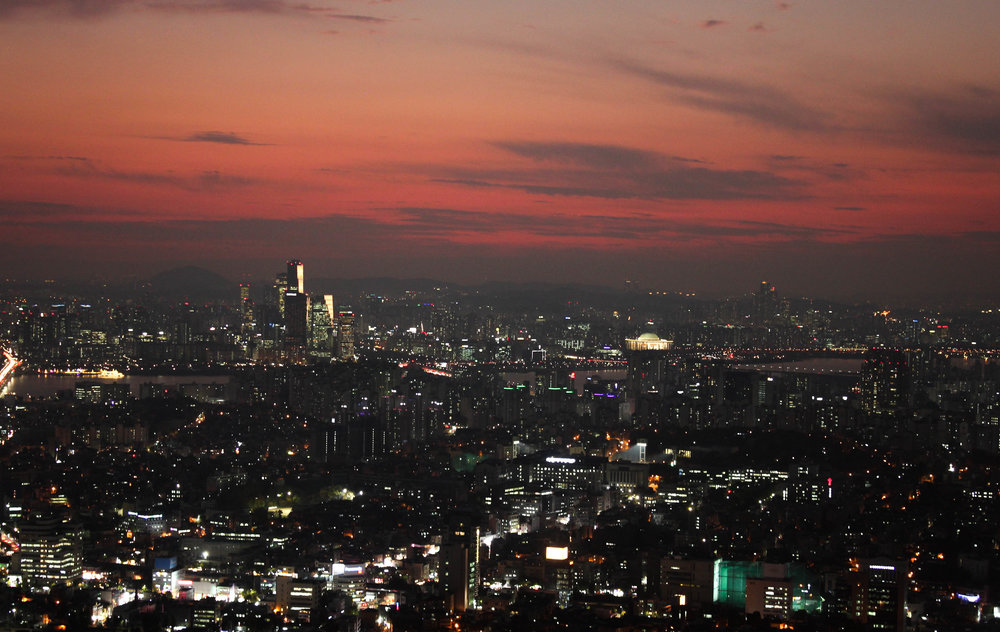 The view from Seoul Tower! Or from the base of Tower as I didn't actually go to the top. I took a cable car to the top and walked around to admire the sunset. It was city as far as the eye could see.