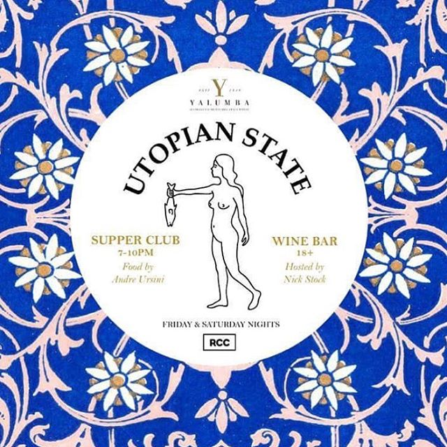 "As part of the @royalcroquetclub MANGIA, MANGIA! invites you to the ""Utopian State Supper Club"" @utopianstate 〰 A ""wine, dine and disco"" interactive tasting with @yalumbawine / @andrescucina - hosted by Nick Stock.  You will not only enjoy food and wine but also entertainment by Surahn from Flight Facilities/ Empire Of The Sun!  Tickets can be purchased from https://www.adelaidefringe.com.au/fringetix/utopian-state-supper-club #royalcroquetclub #rcc #adelaidefringe #yalumbawine #andrescucina"