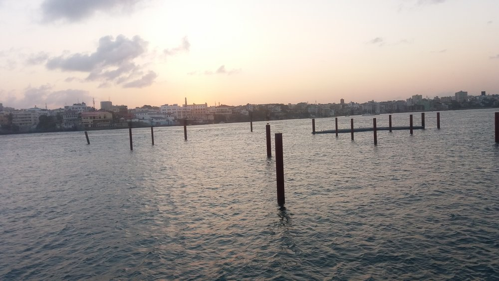 View of Mombasa Island at sunset from English Point Marina