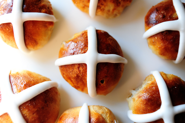 5. Hot Cross Buns There are many myths and traditions surrounding hot cross buns.  Some say that hot cross buns shared with friends will cement friendships, others claim that hot cross buns hung from the rafters on Good Friday will stay fresh for the next year.  It's also been said that the buns will protect the kitchen from evil spirits, preventing fires and ensuring all breads will rise.  In 1592, Queen Elizabeth even declared hot cross buns as too special to be sold on any day other than Good Friday, Christmas, or a burial.  Aside from all of the legend, hot cross buns are a delicious treat and a fun way to bring Easter tradition and folklore into your kitchen. Get the recipe here: Hot Cross Buns from The Pioneer Woman