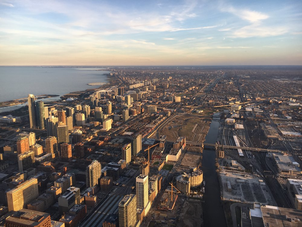 Views at dusk from the 103rd floor.