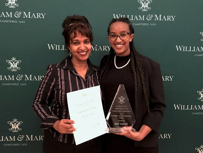 Meronne pictured receiving the C arol F.S. Hardy Trailblazer Award  with mother Nini Legesse.