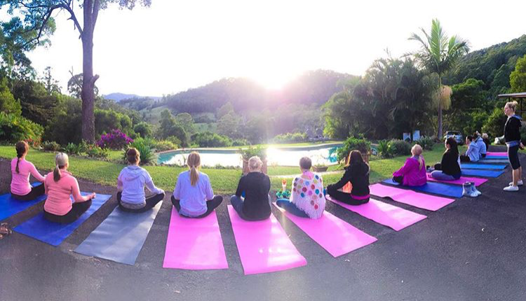 Meeting on our mats for Silent Sunrise Yoga