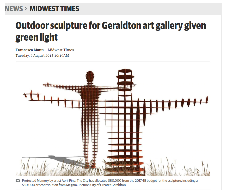 Two figures with outstretched arms will welcome visitors to the Geraldton Regional Art Gallery.  City of Greater Geraldton councillors voted 9-3 in favour of the concept design by Perth-based artist April Pine, during the ordinary council meeting on July 24.  The sculpture, called Protected Memory, will be located outside the gallery on the grassed area on Durlacher Street.