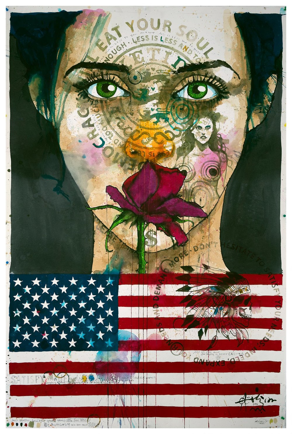 """(SOLD) """"Just Another Speech About The Free World"""" 160 x 110 cm x"""