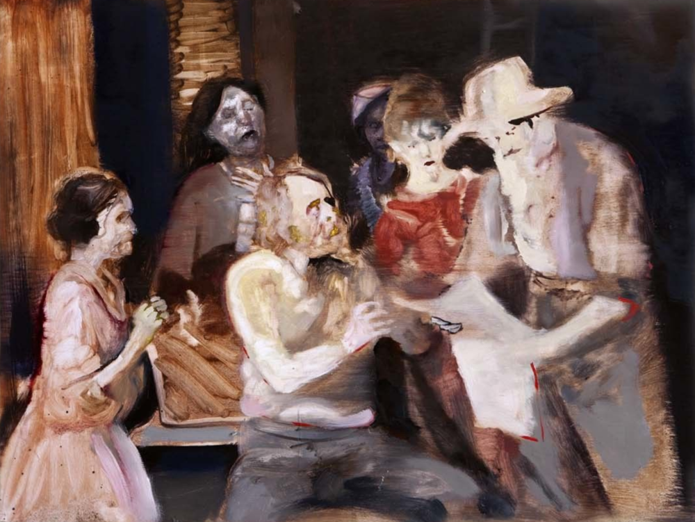 """News Reaches the Family 2"" 61 x 91 cm, mixed media on wood panel"