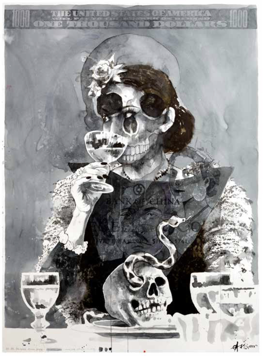 """""""At the European Dinner Party"""" 173 x 127 cm (papersize)"""