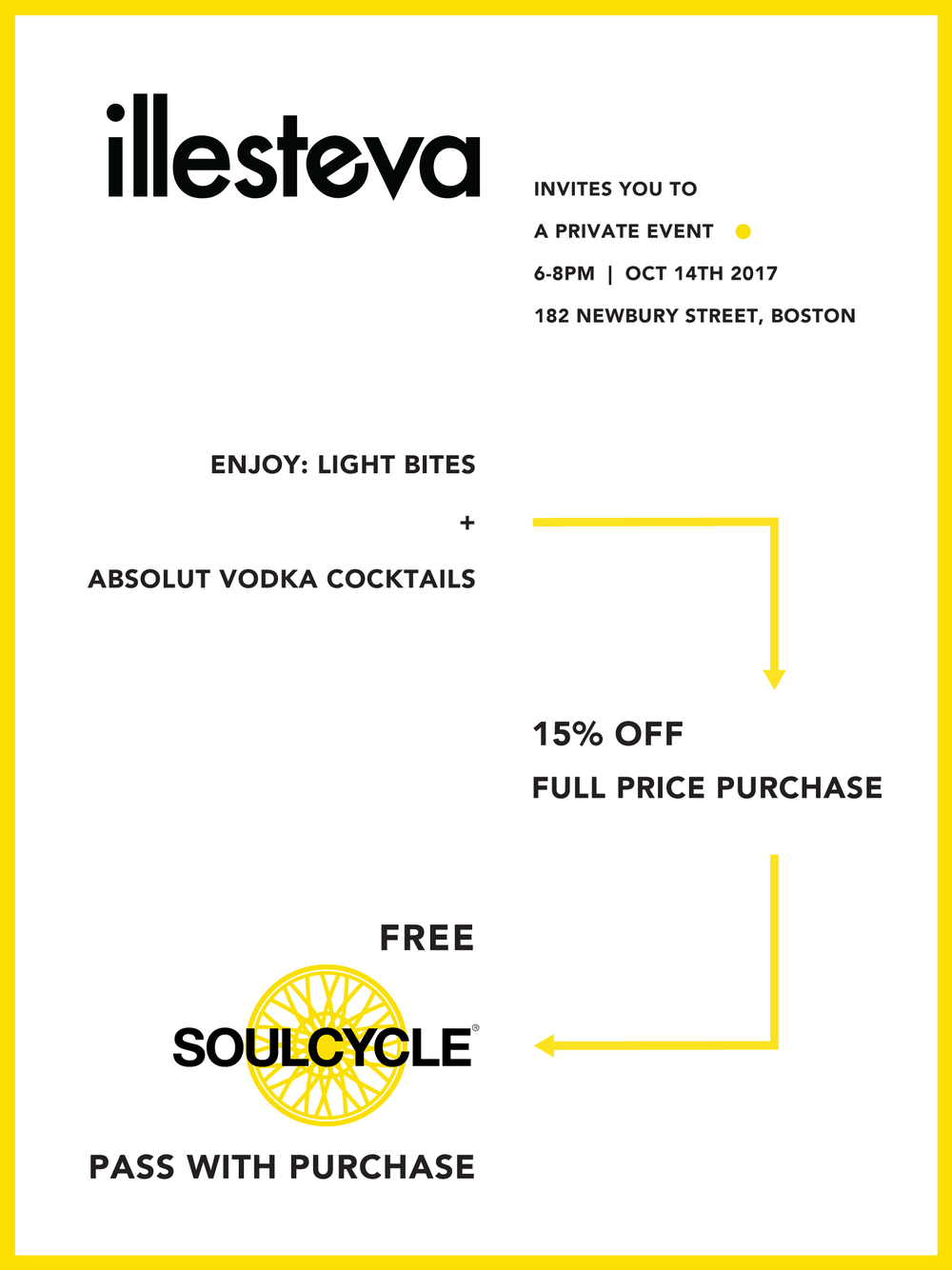 Soulcycle pass - Event sponsored by SoulCycle at Illesteva Newbury