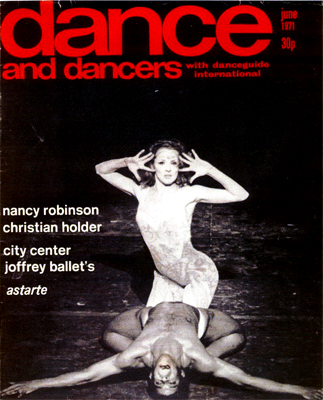 "1971 - The ballet ""Astarte."" A cover from the English magazine Dance and Dancers"