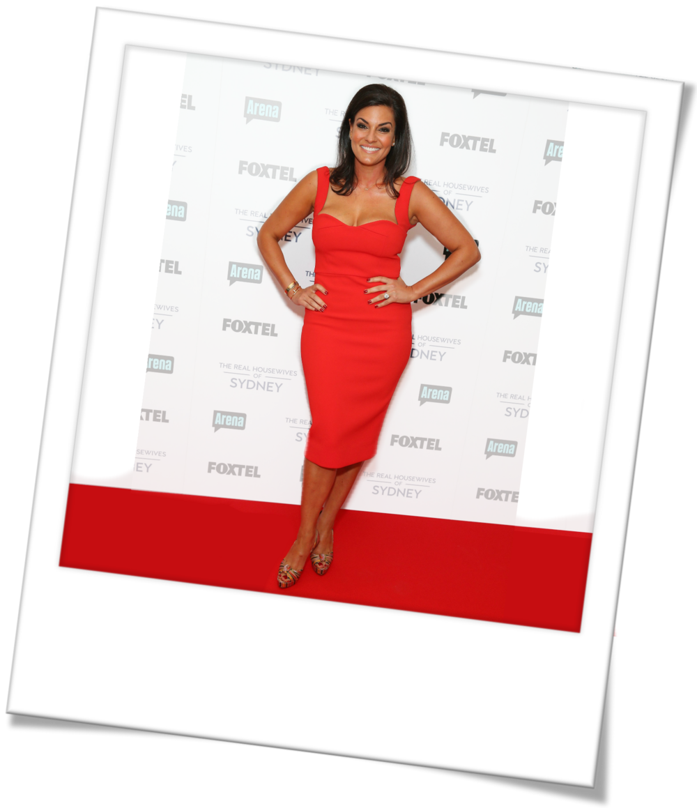 Red Dress Outfit Inspiration - Nicole O'Neil Real Housewives of Sydney - Shop the Look  Victoria Beckham Red Bodycon Cocktail Dress, Gold Accessories, Diamond Ear Cuff, Christian Louboutins